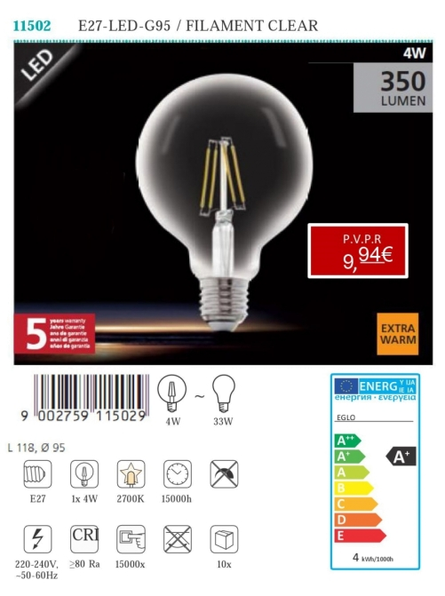 Lâmpadas LED - Lámpada LED E27 - LED - G95 / FILAMENT CLEAR 4W
